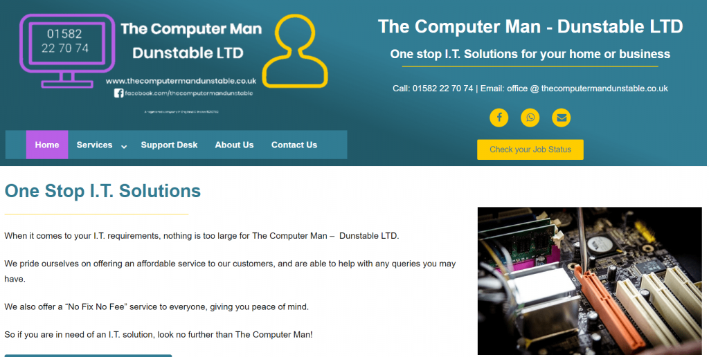 The Computer Man Dunstable LTD Website Design