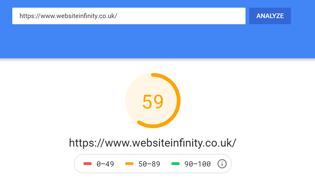 Website Infinity Desktop Score