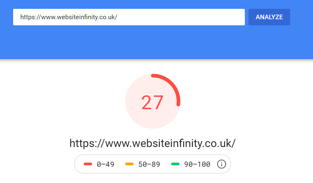 Website Infinity Mobile Score