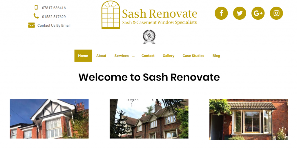 Sash Renovate Website Design