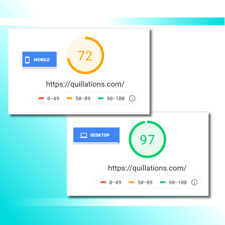 Google PageSpeed Insights for Quillations